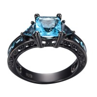 Aquamarine Black Gold Ring