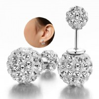Compact Pearl Ear Stud Rhinestone Double Ball Crystal Stud Earrings For Women Fashion Jewelry