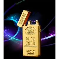 Classic Gold Bar USB Rechargeable Electric Pulse Arc Cigar And Cigarette Lighter
