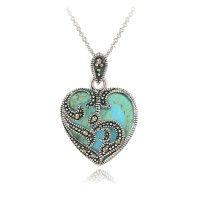 925 Sterling Silver Marcasite and Turquoise Heart Necklace